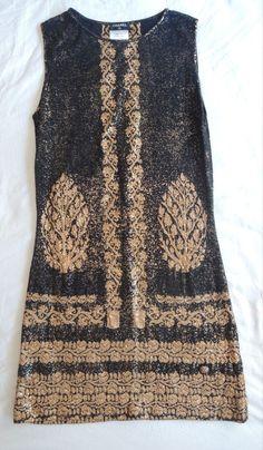 ~ CHANEL BLACK & METALLIC GOLD BROCADE KNIT SHIFT DRESS (FRENCH GIRL CHIC) F 34 #CHANEL #Shift #Cocktail