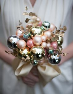 christmas glass bulb bouquet for bride wedding by Brittany Watson Jepsen of The House That Lars Built for Etsy Weddings