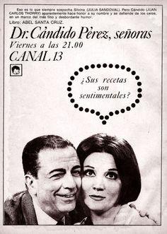 Publicidad del programa DR. CANDIDO PEREZ, SEÑORAS, Canal 13, Buenos Aires, década del 60.