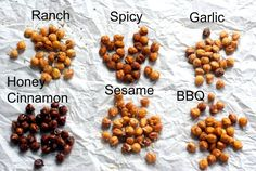 Make this crispy oven-roasted chickpeas recipe in six different flavors: ranch, spicy, garlic, agave-or honey-cinnamon, sesame, and/or BBQ. A little something for everyone.