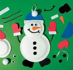 paper plate snow men
