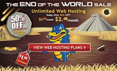 Hostgator #EndOfTheWorld Sale goes live. 50% OFF on Web hosting & domain for $1.95 http://buff.ly/TcnG0h
