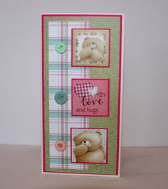 """Beautiful DL size Forever Friends """"With Love & Hugs"""" Card handmade by Suzy @ Suzy Cole Crafts Baby Cards, Kids Cards, Craft Cards, Card Crafts, Forever Friends Cards, Cards For Friends, Handmade Scrapbook, Girl Birthday Cards, Craftwork Cards"""