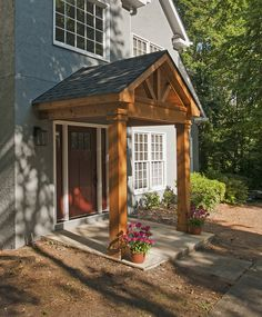 Timber frame portico with gable roof. Designed and built by Georgia Front Porch. Front Porch Remodel, House Front Porch, House Entrance, Porch Entrance Ideas, Front Porch Makeover, Porch Roof Design, Gable Roof Design, Portico Entry, Porch Builders