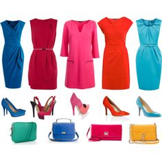 A fashion look from March 2012 featuring pink dress, red dress and blue dress. Browse and shop related looks.