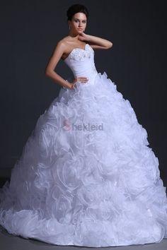 Ballkleid Rüschen Reißverschluss Organza ärmelloses Brautkleid - Bild 1