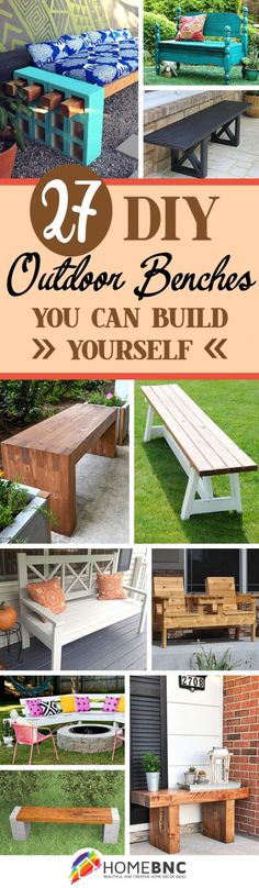 DIY Outdoor Bench Decor Ideas-BY HOMEBNC-With some tools, supplies, time, and these DIY outdoor bench ideas, you can make your nature seat and be sitting on a bench that you created for the months and years to come. (diy projects with pallets decks) Outdoor Furniture Plans, Diy Furniture Projects, Diy Pallet Projects, Outdoor Projects, Outdoor Decor, Outdoor Benches, Wood Furniture, Outdoor Supplies, Patio Bench