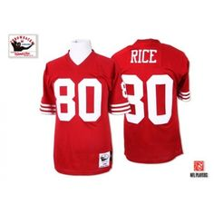Nike Mitchell and Ness San Francisco 49ers http://#80 Jerry Rice Red Throwback Premier NFL Jersey$89.99