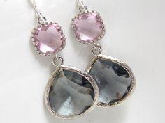 Silver Gray Earrings, Pink Earrings, Grey Earrings, Rose, Charcoal, Wedding Jewelry, Bridesmaid Earrings, Bridal Jewelry, Bridesmaid Gifts on Etsy, $27.00