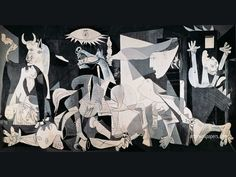 'Guernica' (1937) painted by Spanish Modern artist, Pablo Picasso. It was created in response to the bombing of Guernica, Basque Country, by German & Italian warplanes at the behest of the Spanish Nationalist forces, on 26 April 1937, during the Spanish Civil War.  It was displayed at the 1937 World's Fair in Paris. Very moving and powerful.