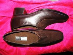 MUNRO SHOES BROWN LEATHER/SUEDE LOAFERS W ELASTICS SIZE 8/38,5 N MADE IN USA !