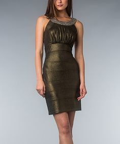 Take a look at this Bronze Shimmer Tiered Yoke Dress by AA Studio on #zulily today!