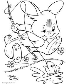 Easter bunny picture to print and color