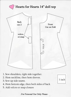 I wanted to share this great simple pattern.   I recreated this, in doll size, from a woman's blouse pattern.   What I love about it most...