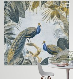 Vintage Fashion, Vintage Style, Peacock, Rooster, Tropical, King, Canvas, Crowns, Illustration