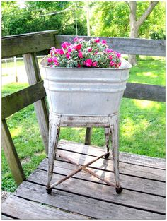 Eightymillion: DIY Recycling Inspiration: Vintage Galvanized Basin Into a Flower Pot~This project turned out awesome!