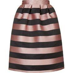 TOPSHOP PETITE Stripe Prom Midi Skirt ($105) ❤ liked on Polyvore featuring skirts, petite, pink, stripe midi skirt, mid-calf skirt, mid calf black skirt, black striped skirt and topshop skirts