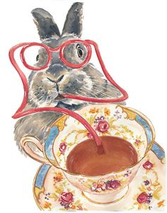 Rabbit Watercolor PRINT - Teacup Watercolour Print, Kitchen Art, 8x10 Print, Bunny Rabbit