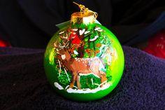 Hand Painted Ornament-Deer & Hunter-Item by reneesprettypainted
