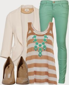 Casual Outfits Mint Jeans- I can easily pair that with my white jacket. Polka dot gold top. Cool :)