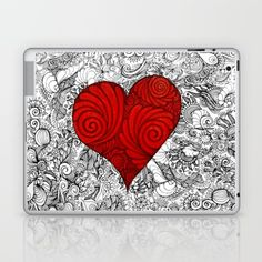 Red Red Heart with Zen style doodle for valentines Day gifts Laptop & iPad Skin love, heart, red, zen, ink, illustration, unique, trendy, girlfriend, boyfriend, wife, husband, lover, friendship, romance, cute, cool, organic, hand made, valentine day, special