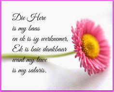 Die Here is my baas en ek is sy werknemer. Ek is dankbaar want my lewe is my salaris Afrikaanse Quotes, True Words, Call Me, Fun Facts, Verses, Qoutes, Prayers, Love You, Wisdom
