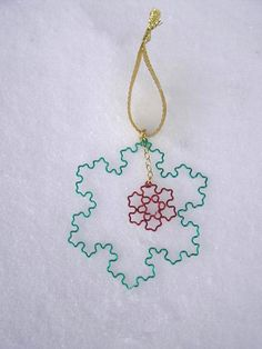 Fractal Ornament  Koch Snowflake Duo  Christmas by DragonNerd, $34.00