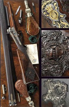 A double barreled percussion rifle by Matthias Mack 19th century.