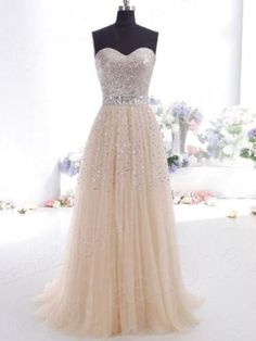 New Champagne Long Prom dress Pageant Party Ballgown Evening Dress Lace up Back find more women fashion ideas on www.misspool.com