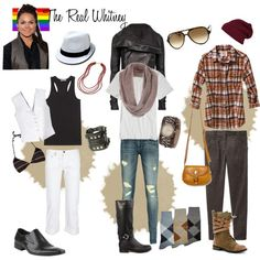 The Real Whitney  looks inspired by Whitney Mixter - The Real L Word  vest, argyle, combat, beads, biker, leather, scarf, beanie, v neck, butch, femme, dreads, tattoos,gay, lesbian, pride my-look-books