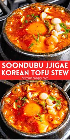 Soondubu jjigae (순두부찌개) is a spicy Korean tofu stew made with freshly curdled soft tofu called soondubu. Add vegetables, your protein of choice, and egg to this Korean tofu soup for a satisfying, delicious meal!