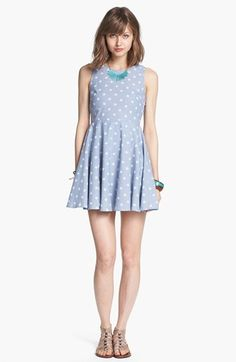 dee elle Star Print Chambray Fit & Flare Dress (Juniors) available at #Nordstrom
