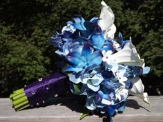 Bridal bouquet with Blue galaxy orchids, hydrangea, real touch medium calla lilies and jeweled steph Silk Bridal Bouquet, Bridesmaid Bouquet, Wedding Bouquet, Bridesmaids, Blue Dendrobium Orchids, Aisle Flowers, Bridal Packages, Bride Pictures, Wedding Themes