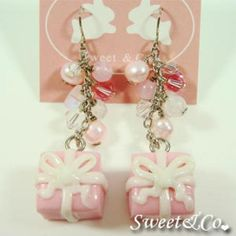 Sweet Christmas Pink Present Ribbon Earrings