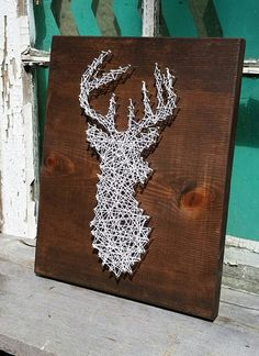 String Art Deer Silhouette Buck Head Stag Sign by NailedItDesign
