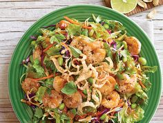 Delish.  No recipe but easily made.  Applebee's - THAI SHRIMP SALAD (CONTAINS PEANUT SAUCE) Edamame, almonds and an oriental salad blend are tossed in a chili lime vinaigrette and topped with juicy shrimp, wonton strips, peanut sauce and fresh cilantro. 390 CALORIES