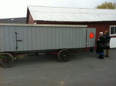 Church-bench wagon. Made to haul collapsible wooden benches from one home to another, where Amish church is held.