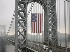The largest free-flying American flag in the world flies over the George Washington Bridge on Sept. 2 in Fort Lee, N.J.
