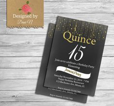 New to DesignedbyDaniN on Etsy: Quinceañero invitation Quince años gold and black party printable español and English Invite Sweet Sixteen Any Age Invite (15.00 USD)