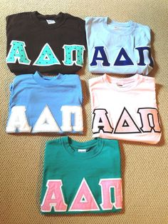 5 small short sleeve alpha delta pi sorority shirts sewn greek letters