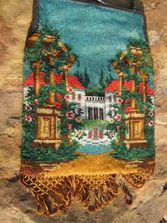Antique Micro Beaded Scenic Purse Huge and Beautiful, 7X10 1/2 inches