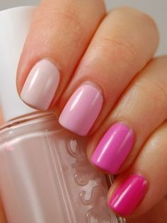 Love this idea of a different shade of a colour per nail