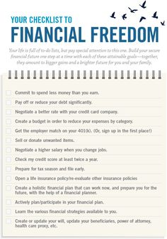 Your checklist for financial freedom Your life is full of to-do lists, but pay special attention to this one. Build your secure financial future one step at a time with each of these strategies—together, they will result in financial wellness for you and Financial Peace, Financial Tips, Financial Planning, Financial Assistance, Financial Literacy, Budgeting Finances, Budgeting Tips, Ways To Save Money, Money Saving Tips