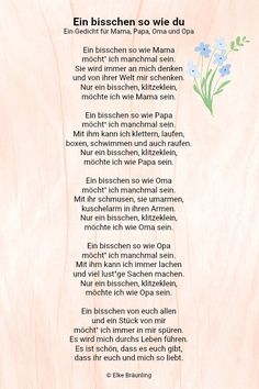 Ein bisschen so wie du * Elkes Kindergeschichten Elke Braunling. A little like you. A little like you. A poem for mom, dad, grandma and grandpa. Sometimes I want to be a bit like mom.