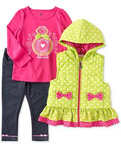 Kids Headquarters Baby Girls' 3-Piece Vest, Top & Pants Set