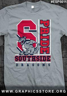 School letter and mascot spirit shirt Cheer Shirts, Sports Shirts, Team Shirts, Sports Logo, School Tshirt Designs, Baseball Shirt Designs, School Spirit Wear, School Spirit Shirts, Wrestling Shirts