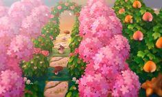 Idée 6 : Si vous avez un coin vide vous pouvez faire un chemin d'une case en alternant un champignon et un paterne ( celui-ci est trouvable dans mon tableau : A c n l - Paternes sans coins ) et y mettre autour des azalées roses et des pêchers