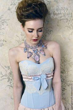 """Wedding corset /Корсеты ручной работы. Ярмарка Мастеров - ручная работа. Купить Корсет """"В розовой дымке"""" шелковый с кружевом. Handmade."""