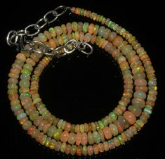 """47 Crts 1 Strands 2 to 6 mm 18"""" Beads necklace Ethiopian Welo Fire Opal  A+1609"""