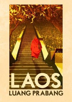 Laos - Luang Prabang Art Print by Rui Ricardo - X-Small Travel Ads, Asia Travel, Travel Trip, Laos Travel, Travel Destinations, Foto Poster, Poster Ads, City Illustration, Illustration Artists